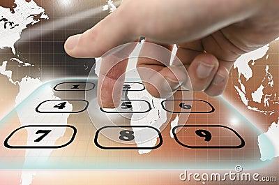 Navigating virtual telephone keyboard