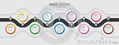 Navigation map infographic 9 steps timeline concept. Winding roa Vector Illustration