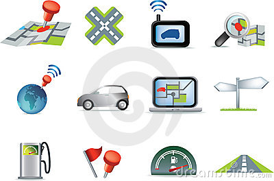 Navigation road travel icon set