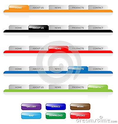 Web navigation tabs buttons, gradient vector template bar menu tab website element ui site design elements button header set home