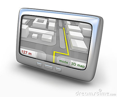 Navigator gps with map on the screen