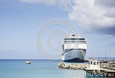 Navio de cruzeiros azul e branco e barco piloto