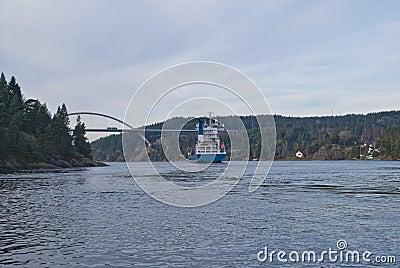 Navio de recipiente sob a ponte do svinesund, imagem 19