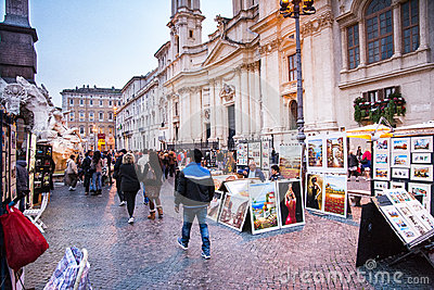 Navona square and  his street artist Editorial Stock Photo
