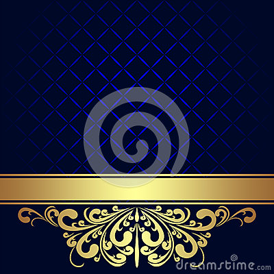 Free Navy Blue Background With Golden Royal Border. Stock Images - 37805974