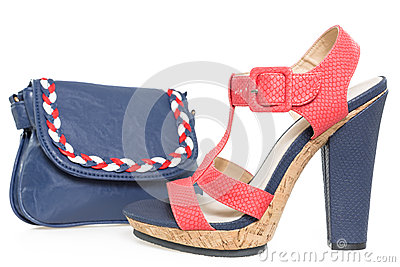 Navy blue and pink shoe, with matching bag, on white