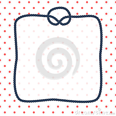 Free Navy Blue Rope Square Frame With A Knot On Dotted White Background, Vector Stock Photos - 70013423