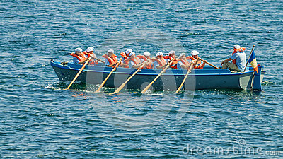 Navy boat sailor paddle Editorial Image