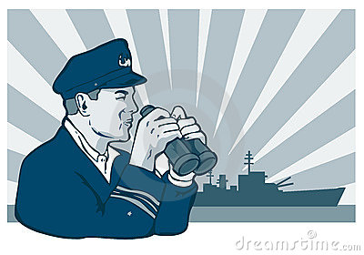 Navy captain with binoculars