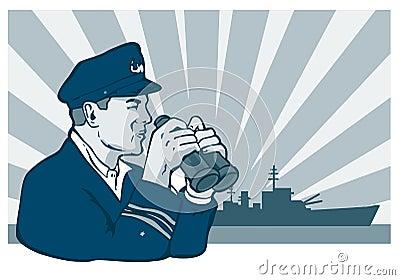 Navy captain with binoculars
