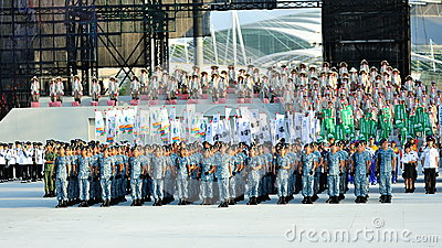 Navy contingent standing at attention at NDP 2012 Editorial Photography