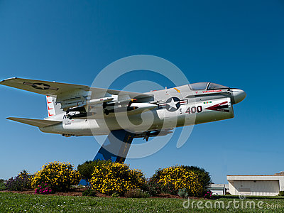 Navy fighter airplane near a base in California Editorial Photo