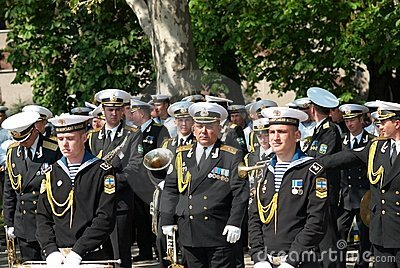 Navy musicians at russian parade May 9, 2009 Editorial Photo