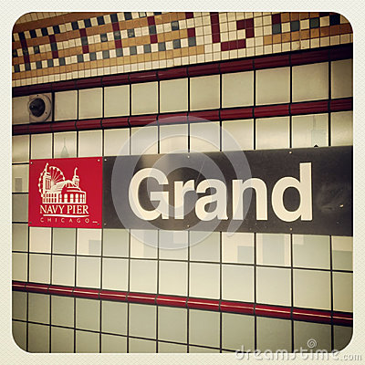 Navy Pier Chicago and Grand Station sign Editorial Photography