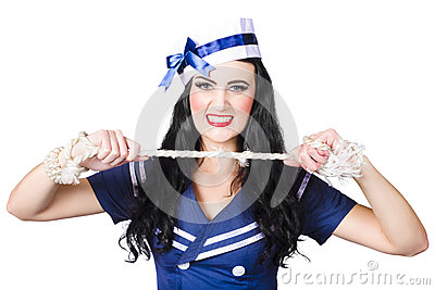 Navy pin up poster girl breaking rope