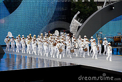 Navy s band entering stadium Editorial Photography