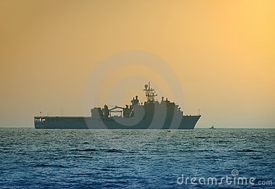 Navy ship at dawn