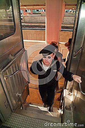 Navy soldier in Troop Train Editorial Photo