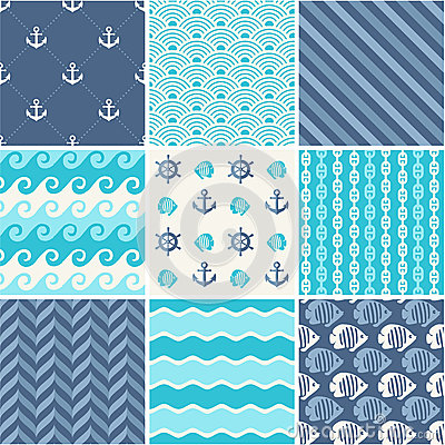 Navy vector seamless backgrounds collection
