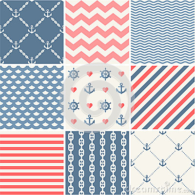 Free Navy Vector Seamless Patterns Collection Royalty Free Stock Images - 40153369