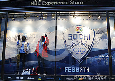 NBC Experience Store window display decorated with Sochi 2014  XXII Olympic Winter Games logo in Rockefeller Center Editorial Stock Photo