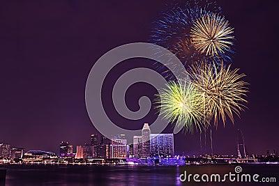 NDP 2007 - Fireworks at Marina Bay Editorial Photo