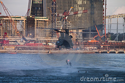 NDP 2009 - Chinook showing Heli Drop Editorial Stock Photo