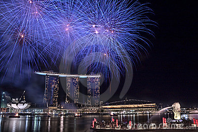 NDP 2010: Fireworks at Merlion Park Editorial Photo