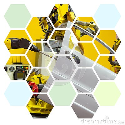 Free Ndustry Robot Arm Spot Welding Car Door In Hexagon Shape Stock Photography - 143966482