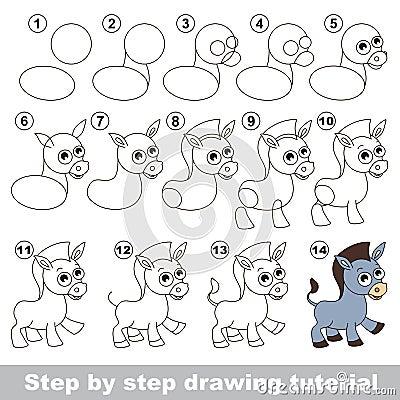 Ne cours de dessin illustration de vecteur image 69611042 - Dessiner un ane ...