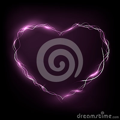 Nean heart glowing in the darkness Stock Photo
