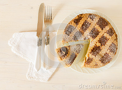 Neapolitan Easter Pie With Wheat And Ricotta On White Wooden Table ...