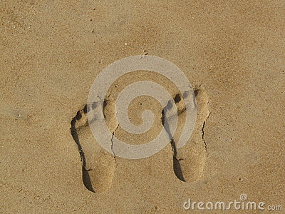 Neat footprints in the sand