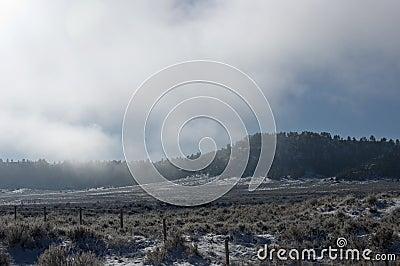 Nebeliger Berg und Feld