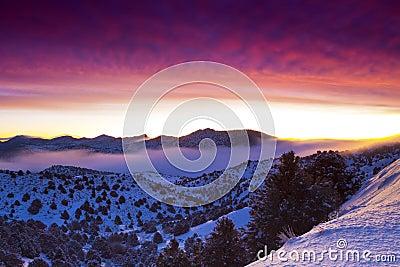 Nebeliger Sonnenaufgang