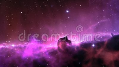 Nebula. Computer graphics animations. Traveling to outer space
