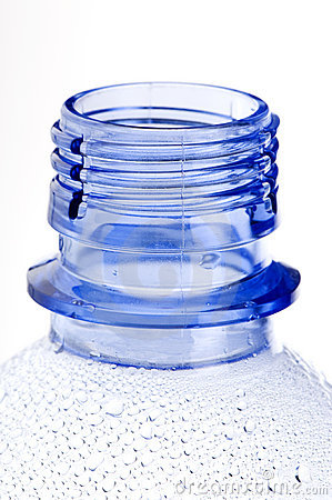 Neck of blue plastic bottle