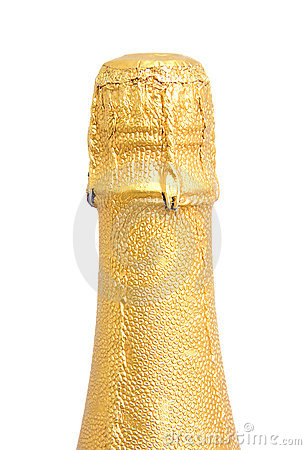 Neck of champagne bottle