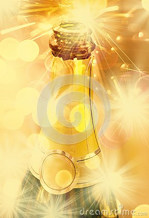 Free Neck Of Open Bottle Of Champagne Stock Image - 103130151