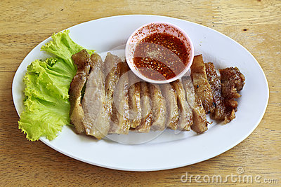 Neck of pork fired thai food
