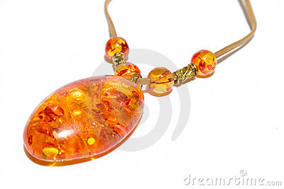 Necklace amber on isolated background
