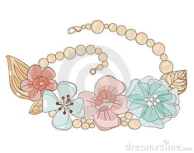 Necklace with flowers in gentle tones