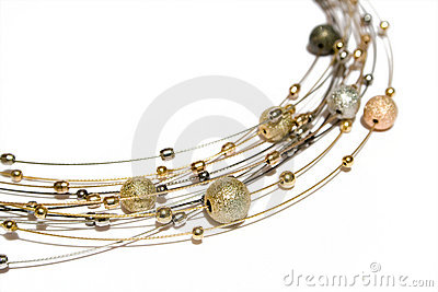 Necklace from gold and silver pearls