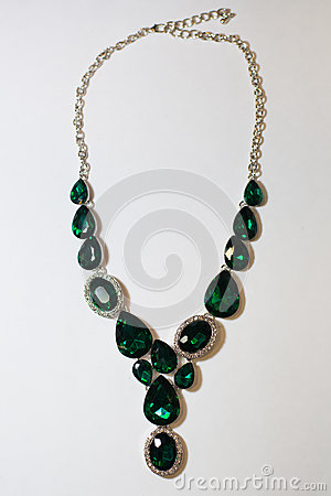 Free Necklace Green Stones Decoration On A White Background Stock Image - 87846501