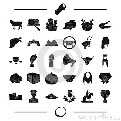 Necklace, jewel ,animal, taxi and other web icon in black style. police, computer, travel icons in set collection. Vector Illustration