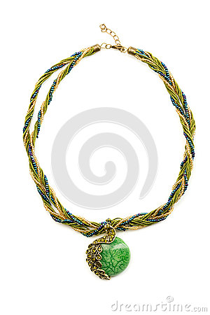 Free Necklace With Emerald Green Stone. Stock Images - 41560044