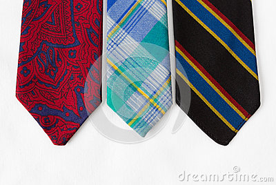 Neckties on White Cloth