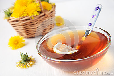 Nectar from flowers of dandelions with  lemon