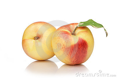 Nectarine, peach fruit on white background
