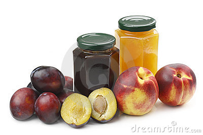 Nectarine,plums and jam